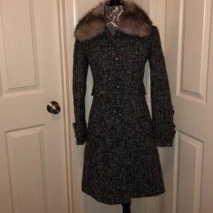 Fox fur collared coat